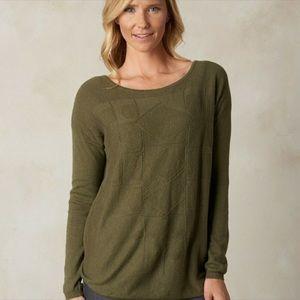prAna olive green stacia organic cotton sweater